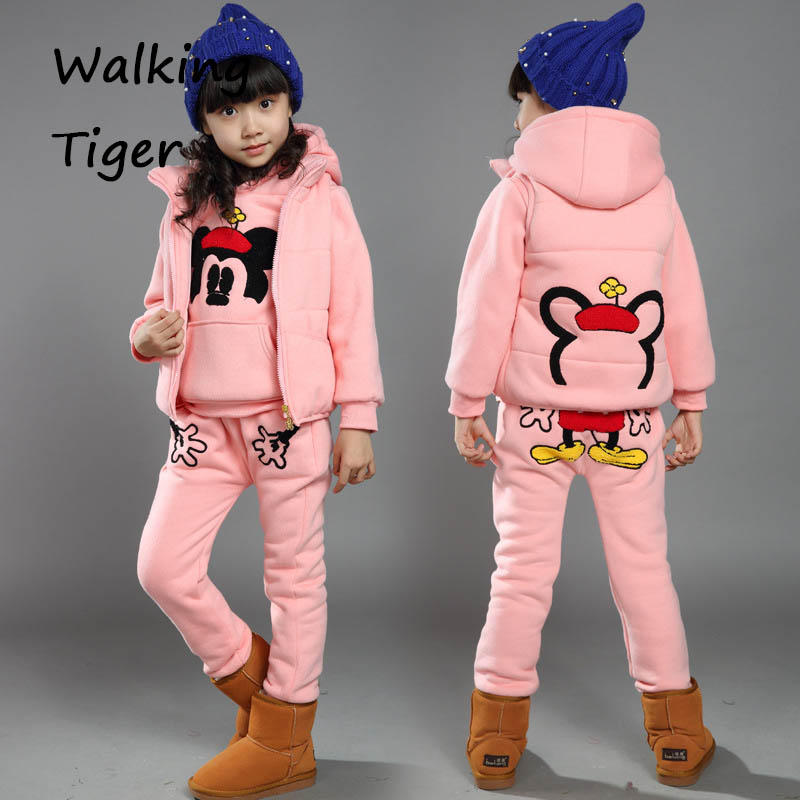 girls hoodie +  waistcoat + pants, children clothes sets winter suits cotton trousers 2017 fashion cartoon mickey clothing <br>