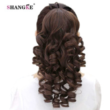 SHANGKE Long Kinky Curly Ponytail Drawstring Hair Ponytail Heat Resistant Clip In Hair Extensions Natural Fake Hair Tail