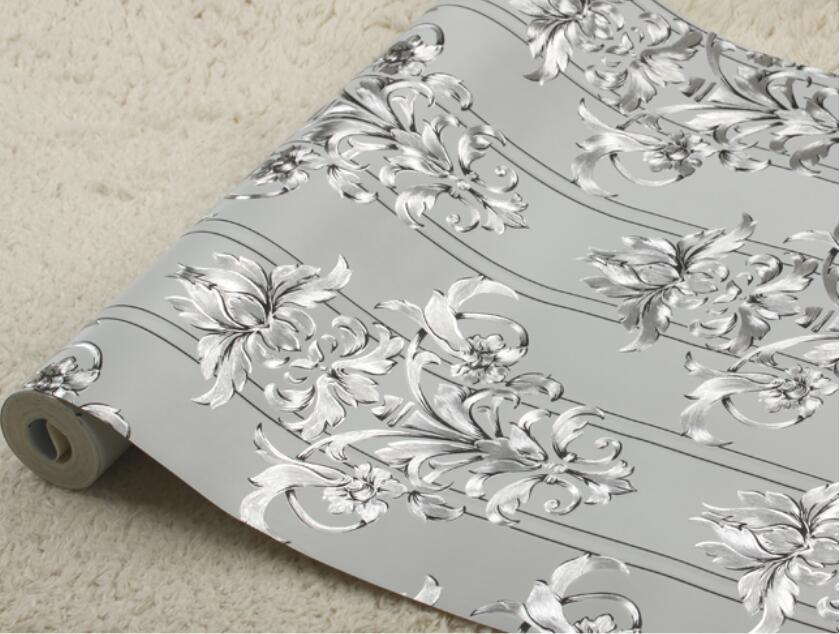 Modern Silver Flower Wallpaper Roll 3d Foil Glitter Living Room Wallpaper Embossed Silver Wallpaper Papel De Parede 3d Paisagem<br>
