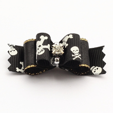 Armi store Handmade Accessories Pets Halloween Skull Ribbon Dog Bow Grooming Bows For Dogs  6026004 Pet Boutique Wholesale