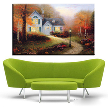 ZZ402 Thomas Kinkade canvas prints art autumn village landscape canvas oil art painting for livingroom bedroom decoration art(China)