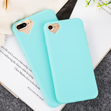 Candy color Soft TPU Ultra thin phone cases For iPhone 7 7Plus lovely heart shape Camera hole silicone back cover with Dust plug