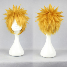 30CM Hot Heat Resistant Kanekalon Party Hair Anime Narutos Uzumaki Short Yellow Blonde Cosplay Hair Wig Headwear Accessories