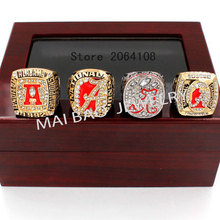 2017 Free Shipping Replica High Quality 4pcs/Packs University of Alabama Crimson Tide Championship Ring set with wooden box