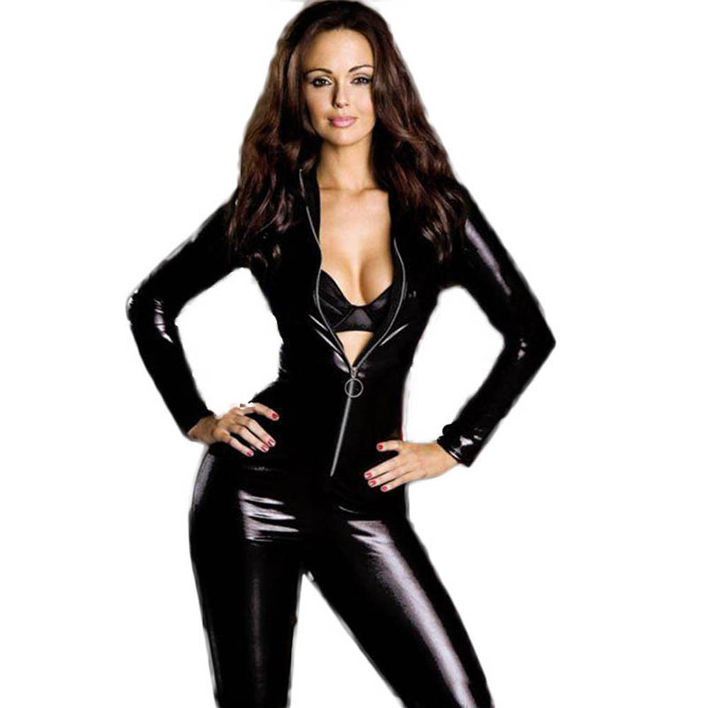 Catwomen Faux Leather Latex Zentai Catsuit Smooth Wetlook Jumpsuit Front Zipper Elastic Black PU Full Bodysuit Playsuit