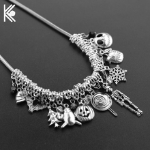 Nightmare Before Christmas Choker Necklace & Pendants with Snake Chain Bats Skulls Snowflakes Crystal Beads Charm Accessories(China)