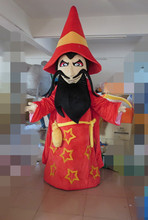 Genial Red Sorcerer Wizard Necromancer Warlock Mascot Costume With Big Hat Blue Bright Eyes White Thick Brows(China)
