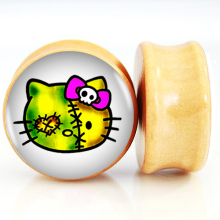 Wholesale 10Pairs/Lot 6mm-25mm Nature Wood Ear Plugs Fit Ear Gauges Plugs - Zombie Hello Kitty 2G-1''