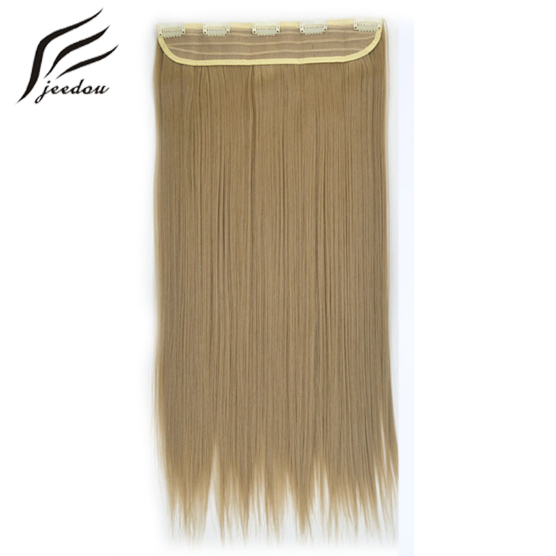 jeedou 24inches Clip In Hair Extension High Temperature Synthetic Natural Hairpiece #16 Ash Blonde Hair For European Women(China)