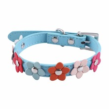 Pet Collar Fower Spiked Studs Buckle PU Puppy Dog Neck Strap Cat Collar Sweet Flower Collar S Size Blue/Black/Red/Pink