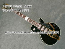 Wholesale & Retail Black Three Pickups LP Custom Electric Guitars with Bigsby Free Shipping