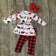 new Christmas fall/winter baby girls moose plaid outfits black red ruffles pants children clothes boutique match accessories set(China)