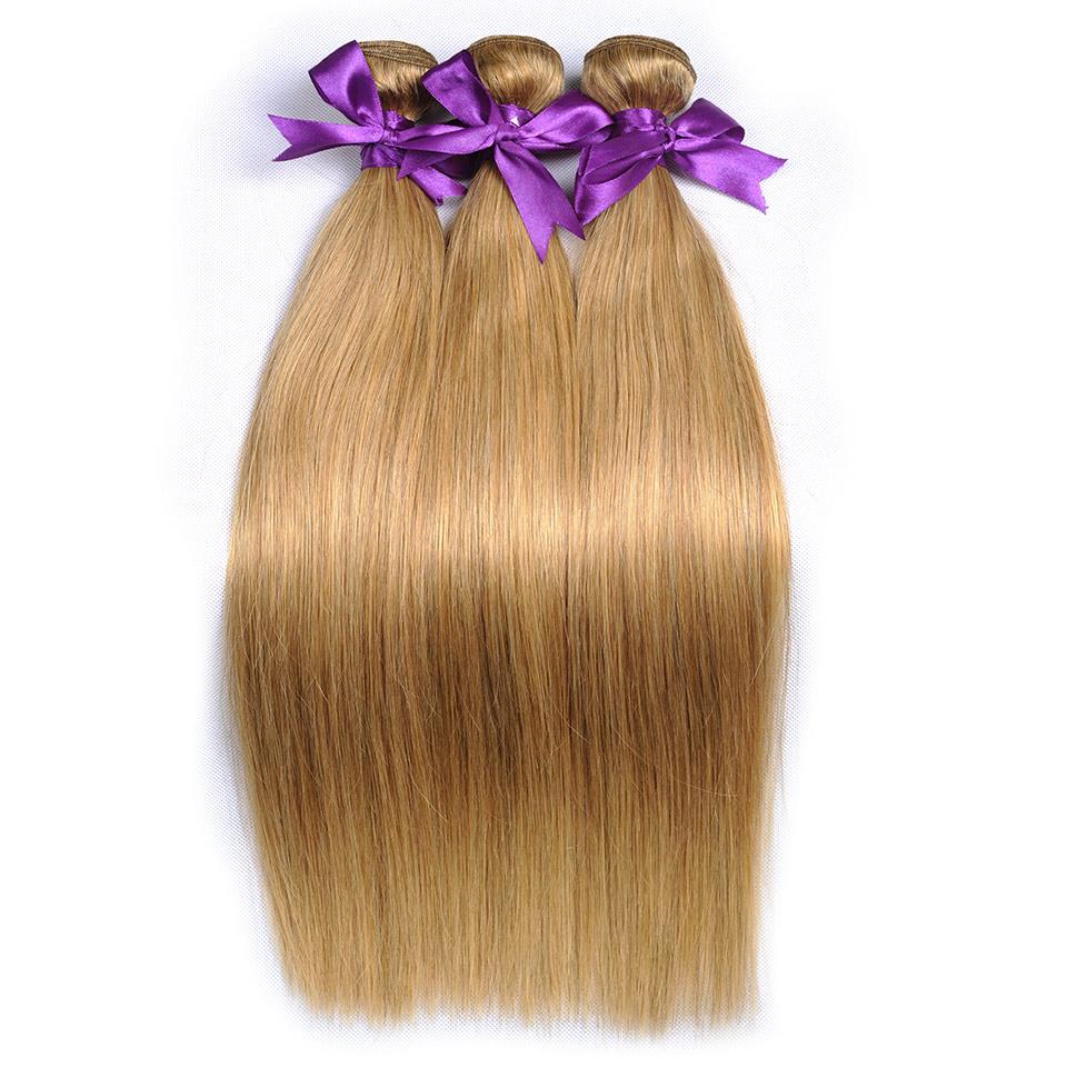 honey blonde Brazilian straight hair Weave bundles color 27 100% human hair extensions (23)