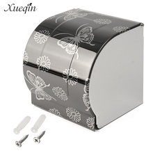 NEW Modern Black Butterfly Painting Surface Bathroom Toilet Roll Paper Holder Paper Wall Mounted Storage Box