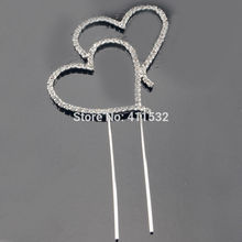 10pcs/lot Double Hearts Diamante Rhinestone Crystal Letter Cake Toppers For Wedding Party Decoration