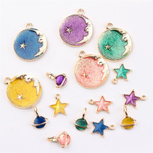 Wholesale 50PCs/Lot Round Moon&Stars Pendant Charms Gold Color Plated Glitter Enamel Alloy Star Saturn Bracelet Necklace Charm