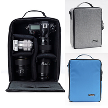 Large Black Photography Protector Camera Carry Bag Insert Partition Case Dividers Fit 2 DSLR 3 Lens Canon Nikon Sony Pentax SLR