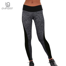 Plus Size Black/Gray Women's Fitness Leggings Workout Pants High Waist Leggings Ladies Sporting Leggings Quick-drying Trousers(China)