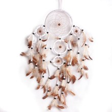 60-55cm Beautiful Dream Catcher hand-woven Dreamcatcher with White feathers for home wall decorations Car is hanged adorn(China)