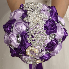 WifeLai-A Silk Wedding Bouquet Nake Pink Ivory Color Superb Quality Diamond Brooch Flower Bouquets de noiva W228-12
