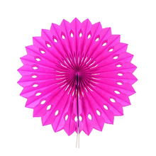 "6pcs 8""(20cm) Rose Paper Fan Flower Folding For Festival Party Wedding Room Decoration Showcase Decoration DIY(China)"