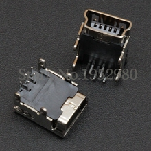 10PCS Mini USB Connector 5 Pin 4 Legs 90 Degree DIP Style Copper Shell USB Socket Charging Port for MP3 MP4