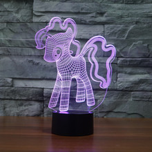 Cute Colorful Rainbow Horse Toys My Little Pony 3D Illusion Night Light Acrylic Horse Pony Model Baby Children Sleep Lamp