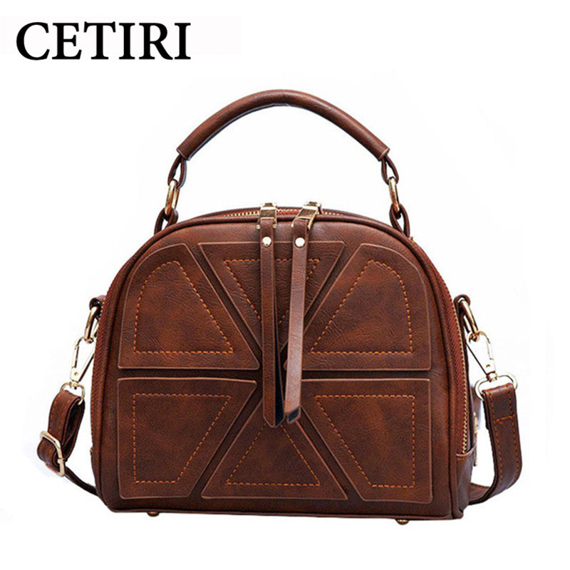 Famous Brand 2017 Vintage Bags Retro Bag Crossbody Bag Small Double Zipper Handbags Women Messenger Bags Shouder brown bag