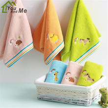 25x50cm 100% Cotton Cute Animal Embroider Sugar Color Comfortable Baby Children Kids Bathroom Hand Towel Face Towels(China)