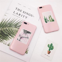 For iPhone 8 7 Case Soft Silicone Plants Cactus Scattered tail leaf Case For iPhone 6 6S Plus Cases Pink TPU Phone Back Cover(China)