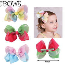 1PC Sweet Girls Pastel Rainbow Boutique Hair Bow Alligator Hair Clips Hairgrip For Girls Kids Signature Keeper Dance Moms(China)