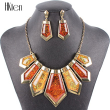 MS20566 Fashion Woman's Brand Jewelry Sets Gunmetal Plated Uniqe Design Green Necklace Set High Quality Party Gift Free Shipping
