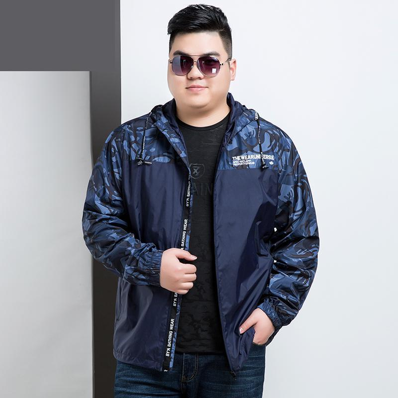 Spring Mens Large Yards Thin With Hood Jacket Casual Loose New Style Fashion Long Sleeve Coat brand male clothing size XL-8XL