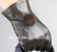 Rabbit fur ball Genuine Leather gloves skin gloves LEATHER GLOVES mixd color 12pairs/lot #3135