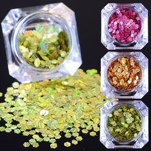 1 Box BORN PRETTY Laser Nail Glitter Paillette 3mm Hexagon Stripe Sequins Manicure Nail Art Decoration 7 Colors(China)