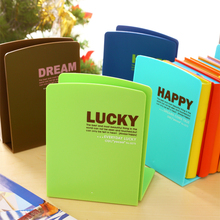 Korea Stationery Lackadaisical Ann Fresh Candy Color Cartoon Bookshelf Plastic Bookend Book Reading School Office Supplies(China)