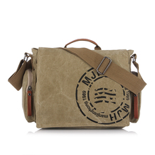 New Men's Handbags Canvas Shoulder Bags Men Satchel Crossbody Bag Letter Printing Vintage Canvas Messenger Bags for Men