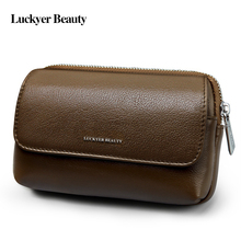 LUCKYER BEAUTY Genuine Leather Waist Bag Men's Waist Packs Brown Casual Vintage Fanny Pack Bag Cell Phone Pouch Key Zipper Pouch(China)