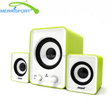 Mini Computer Speaker 2.1 Speakers System with 2 Satellites and 1 Subwoofers for MP3/MP4 Players, PC, Game Console & HDTV Green(China)