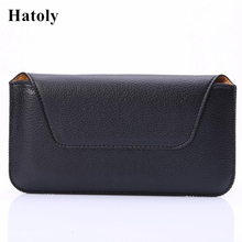 "HATOLY Pouch Case Cover For iphone 8 Plus Horizontal Belt Clip Holster Leather Business Men's Style Smartphone Bags 3.5""-5.5""<(China)"