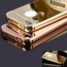 For iphone 4 Case 4S Luxury Metal Hard Shockproof Phone Case For iphone 4S Full Body Aluminum Frame+Mirror PC Back Cover Capa(China)