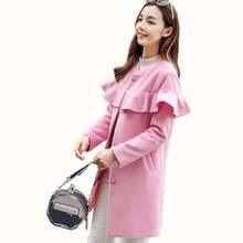 B1619 new Korean version autumn winter 2017 women's style fashion tide thin Blends coat cheap wholesale free shipping(China)