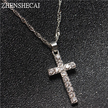 Collier Femme New Fashion Silver Color Cross Necklaces & Pendants Collares for Women men Mujer Accessories Jewelry x307(China)