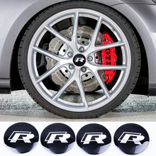 4Pcs/lot  56.5mm Metal R Logo Wheel Center Hub Caps Emblem Badge For VW Volkswagen Golf Car Badge Decal Car Decoration Sticker
