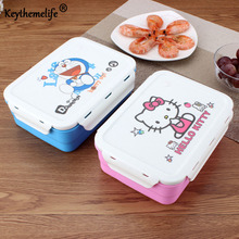 Keythemelife Hello kitty/Deraemon Lunch Boxs Portable Food Container PP+304 Stainless Steel Kids Lunchbox CF(China)