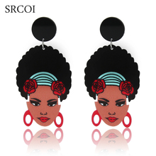 SRCOI Ethnic Ladies African Head Wrap Statement Earrings Women Afro Natural Hair Puff Earrings Acrylic Boucle D'oreille Ethnique