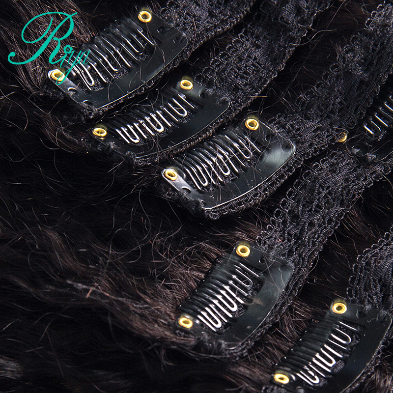 kinky straight clip in human hair extension (6)