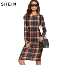 SHEIN Elegant Bodycon Dress Winter Autumn Dress Fall Women Multicolor Plaid Long Sleeve Knee Length Pencil Dress(China)