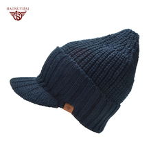 Winter Warm Wool Knitted Hats With Brim Brand Outdoor Ear Protection Beanies Cap Ski cap(China)