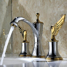 Deck Mounted Three Holes Double Handles basin faucet Bathroom Sink Faucet, Antique Brass Finished sink tap water mixer